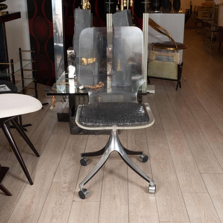 American Acrylic Rolling Chair For Sale