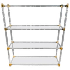 Acrylic Shelf with Gold Elements and 4 Columns