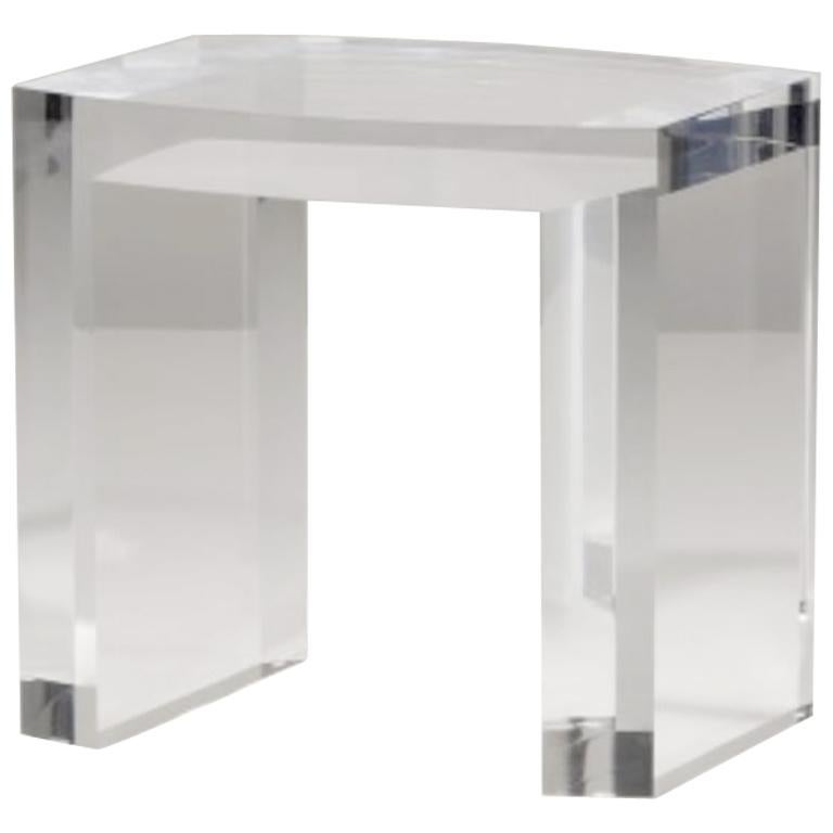 Acrylic Side Table Solid Italian End Table Clear Lucite For Sale