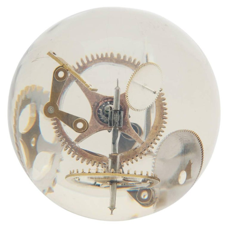 Resin Lucite Sphere with Exploded Watch Parts For Sale 2