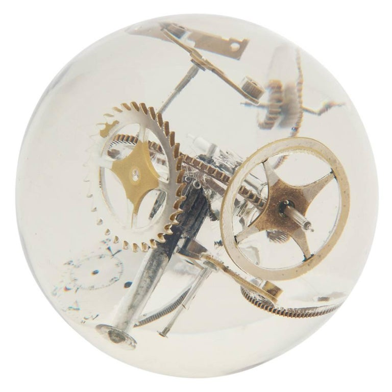 Resin Lucite Sphere with Exploded Watch Parts In Good Condition For Sale In New York, NY