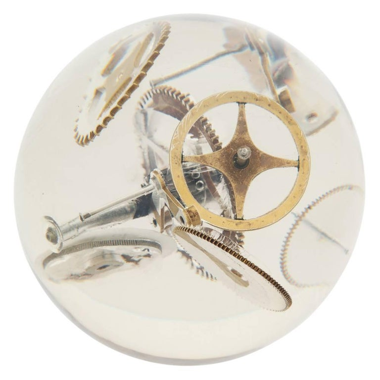 Cast Resin Lucite Sphere with Exploded Watch Parts For Sale