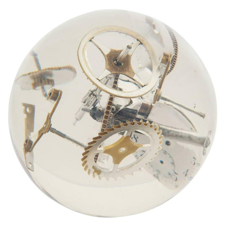 Late 20th Century Resin Lucite Sphere with Exploded Watch Parts For Sale