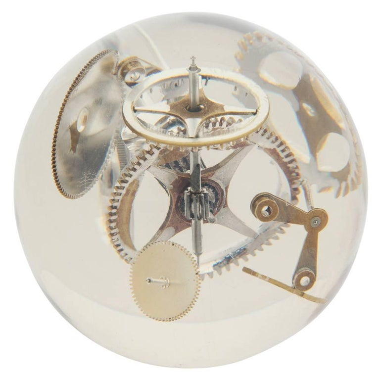 Resin Lucite Sphere with Exploded Watch Parts For Sale 1