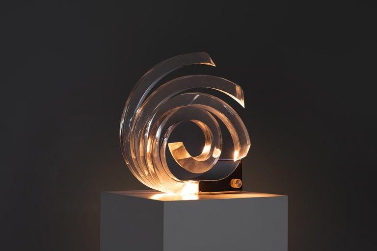 Italian Acrylic Table Lamp by Gaetano Missaglia For Sale
