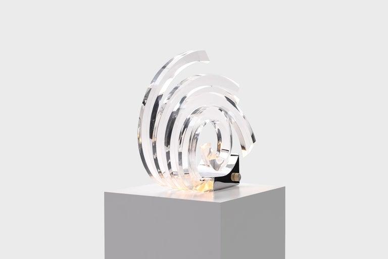 Chrome Acrylic Table Lamp by Gaetano Missaglia For Sale