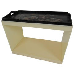 Acrylic Table with Antique Dragon Motif Tray Top