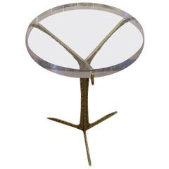 Acrylic Top, Hammered Brass Base Cocktail Table with Portugal, Contemporary