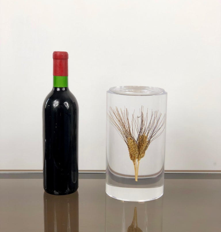Acrylic Wheat Ear Cylindrical Sculpture in Modern Style, Italy In Good Condition For Sale In Rome, IT
