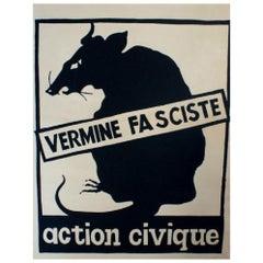 Action Civique Vermine Fasciste May 1968 Original Vintage Poster