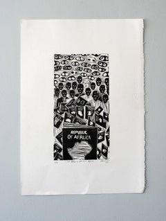 I see Afrlica and not Africa, Actofel Ilovu, Linoleum block print on frabriano