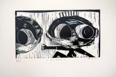 I see Covid 19, Actofel Ilovu, Linoleum block print on fabriano paper