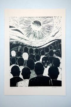 I see enemy, Actofel Ilovu, Linoleum block print on fabriano paper