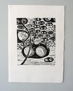 I see one colour, Actofel Ilovu, Linoleum block print on fabriano