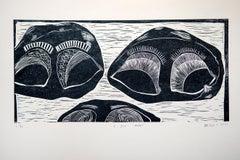 I see tears, Actofel Ilovu, Linoleum block print on fabriano paper
