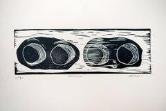 Ondiwete, Actofel Ilovu, Linoleum block print on ivory Rosaspina fabriano paper