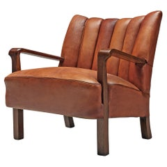 Acton Bjørn for A.J. Iversen Armchair in Patinated Niger Leather and Aged Oak