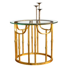 Aculpulco Style Gold Gilded Iron and Glass Side Table Attributed to Arturo Pani
