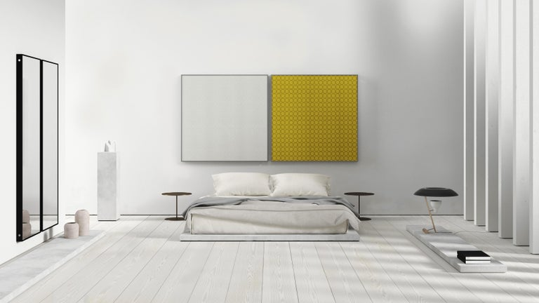 Opus 4 is an understated composition marked by tightly packed rows of embroidered circles to create a delicate geometric pattern. The discreet contemporary design from Akira Minagawa is set against a monochromatic backdrop offered in a range of