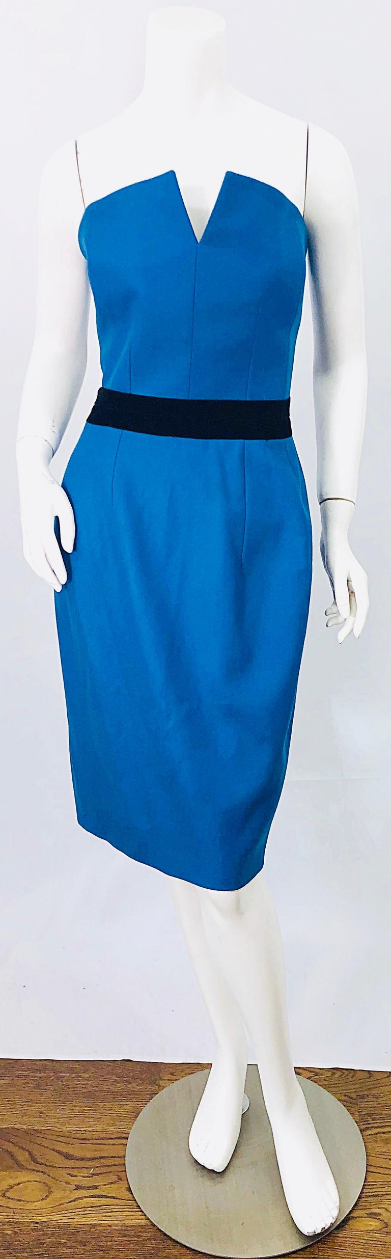 Ad Campaign Yves Saint Laurent YSL Fall / Winter 2008 Turquoise Blue Dress For Sale 7