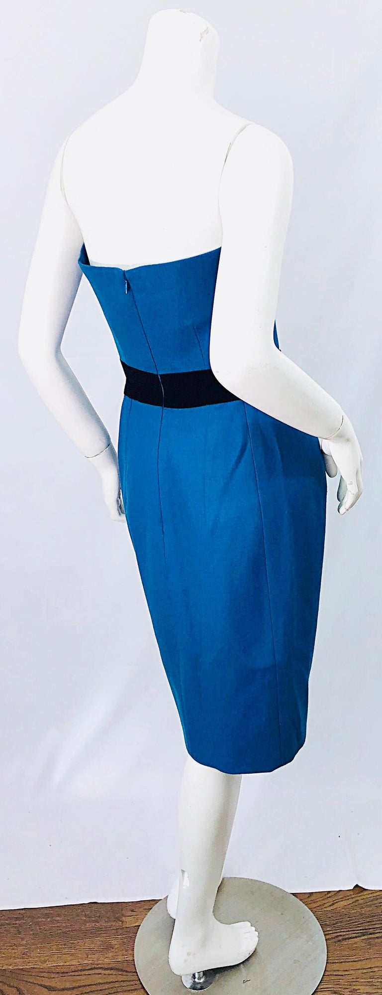 Ad Campaign Yves Saint Laurent YSL Fall / Winter 2008 Turquoise Blue Dress In Excellent Condition For Sale In Chicago, IL