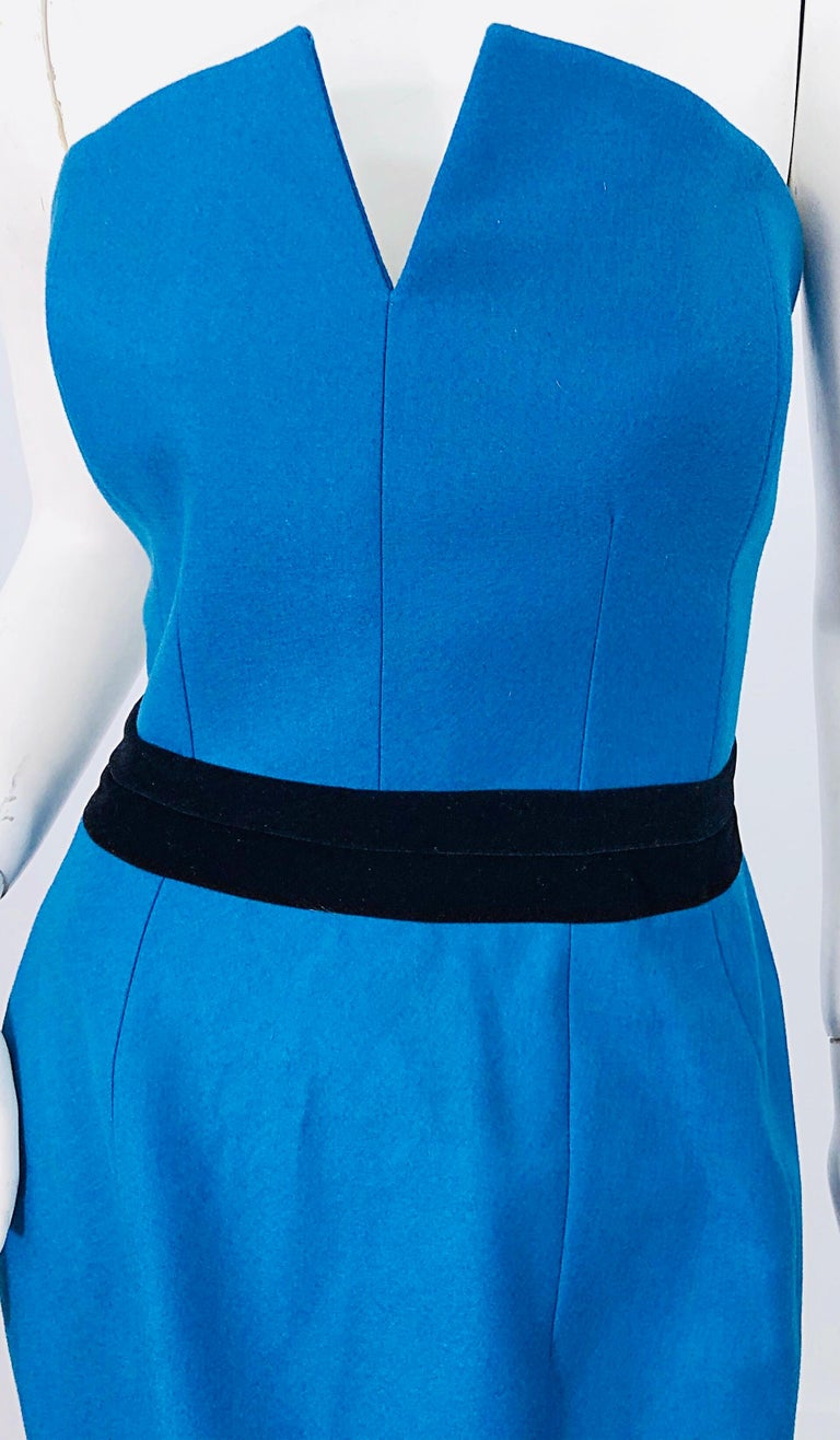 Ad Campaign Yves Saint Laurent YSL Fall / Winter 2008 Turquoise Blue Dress For Sale 1