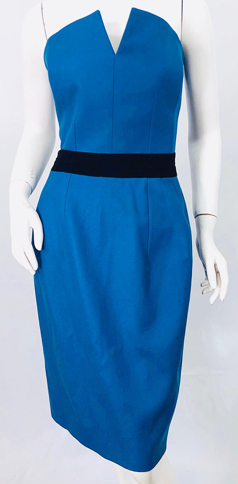 Ad Campaign Yves Saint Laurent YSL Fall / Winter 2008 Turquoise Blue Dress For Sale 3