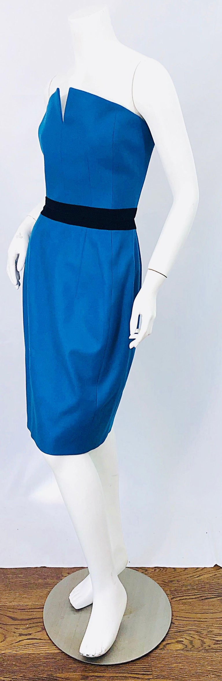 Ad Campaign Yves Saint Laurent YSL Fall / Winter 2008 Turquoise Blue Dress For Sale 5