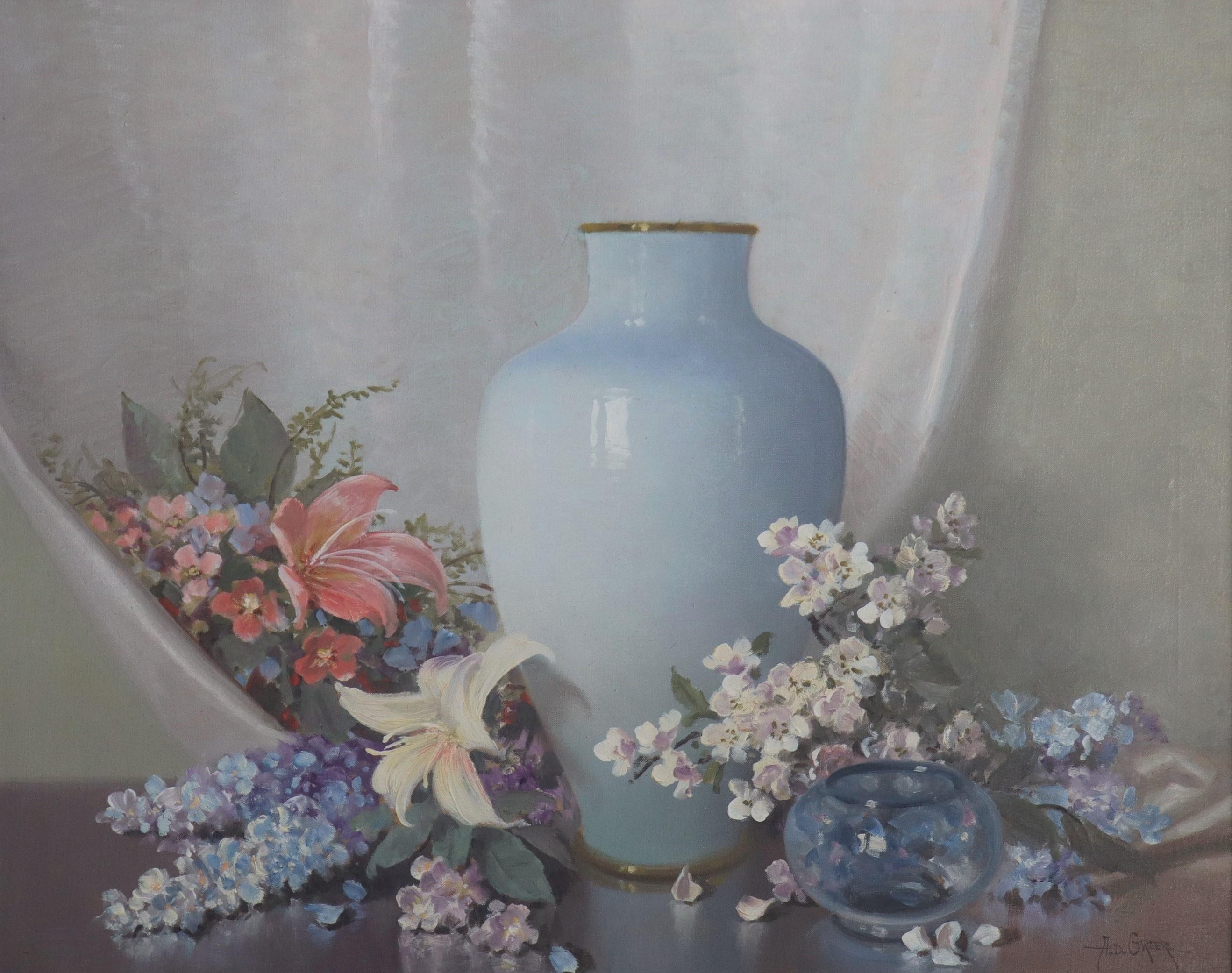 Floral Still-life with Light Blue Vase