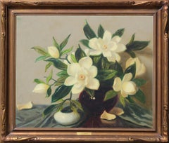 Green and White Realistic Magnolia Flowers Interior Still Life
