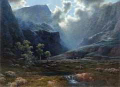 """""""Moonlight"""", A.D. Greer, Original Oil on Canvas, 30x40 in., Mountain Landscape"""