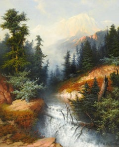 """Mountain Scene"", A.D. Greer, Original Oil on Canvas, 30x24 in., Landscape"