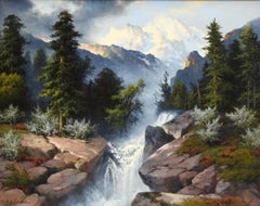 """Mountain Waterfall"", A.D. Greer, Original Oil on Canvas, 24x30 in., Landscape"