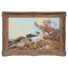 Naturalistic Landscape Oil Painting of Two English Pointer Hunting Dogs