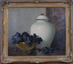 {Still Life of Black Grapes and White Vase}