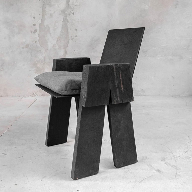 Belgian AD Sculpted Chair, Sculpted Iroko Wood, Arno Declercq