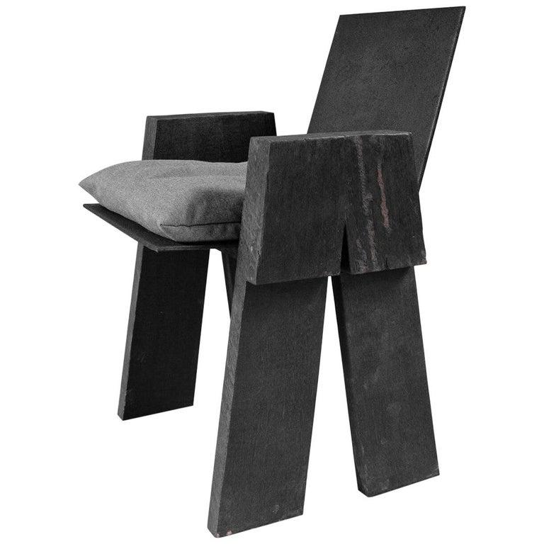 AD Sculpted Chair, Sculpted Iroko Wood, Arno Declercq For Sale