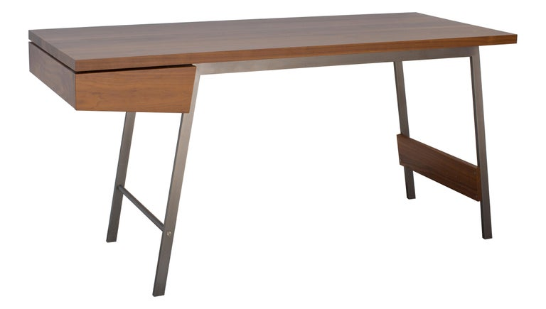 Contemporary AD7, Handmade Solid Walnut and Bronze Desk with Pencil Drawer For Sale