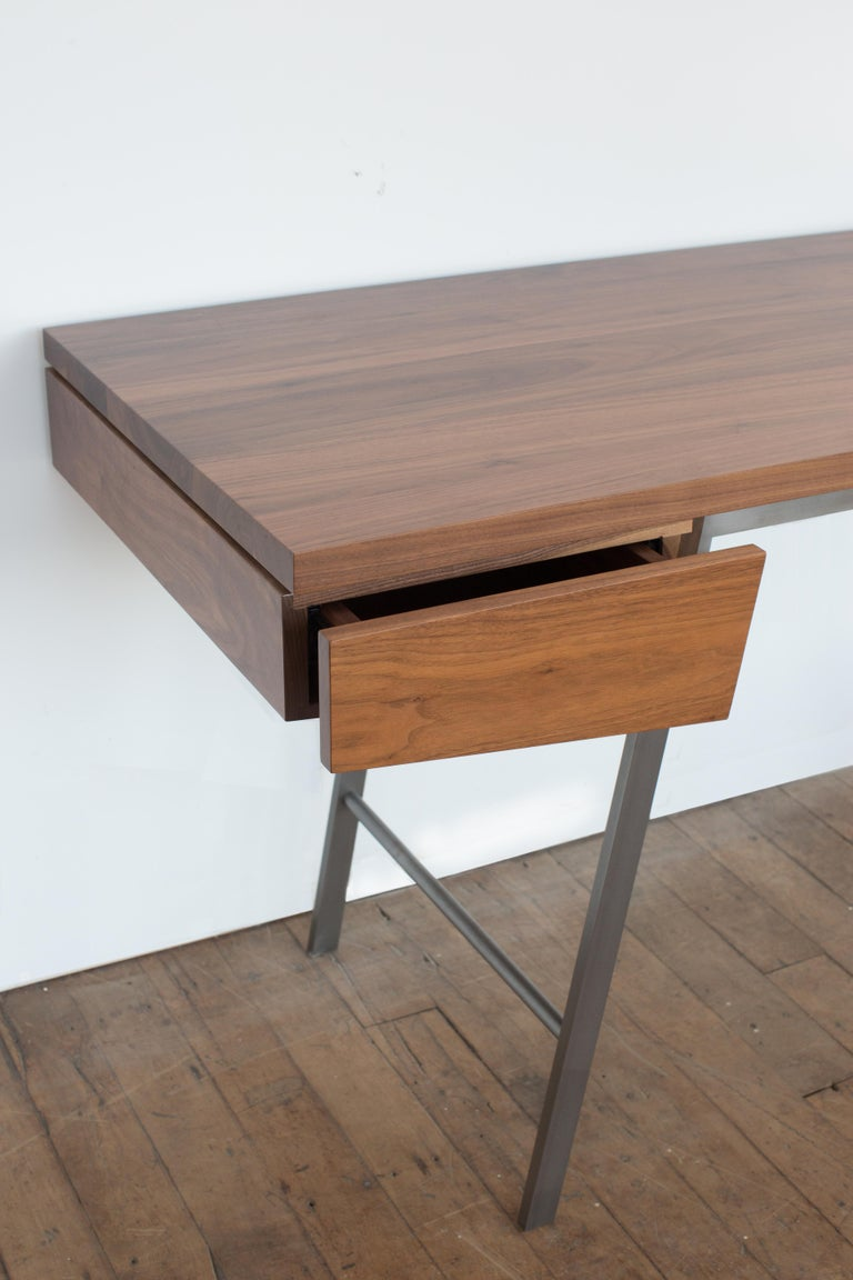 Modern AD7, Handmade Solid Walnut and Cold Rolled Steel with Pencil Drawer For Sale