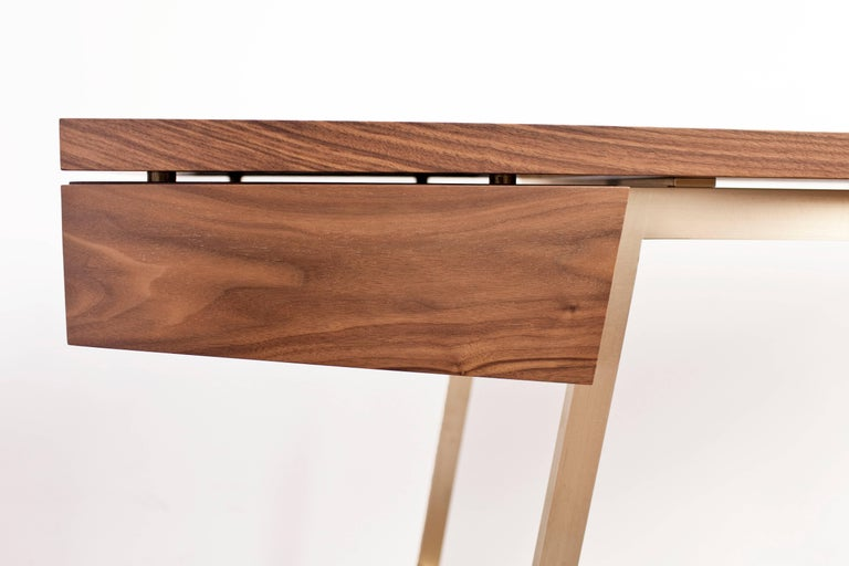AD7, Handmade Solid Walnut and Bronze Desk with Pencil Drawer In New Condition For Sale In Newburgh, NY
