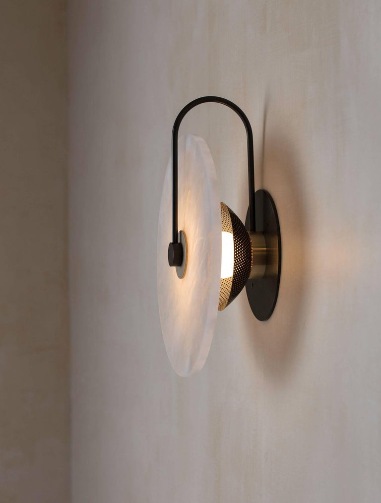 Burnished ADA Alabaster Sconce For Sale