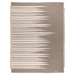 Ada Contemporary Modern Kilim Rug, Wool Handwoven Earthy Gray & Dune White