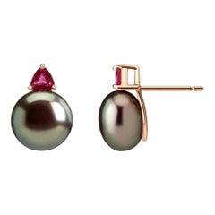 Ada Earrings with Tahitian Pearl and Trillion Rubies