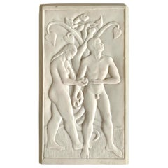 """""""Adam and Eve,"""" Bas Relief Marble Sculpture, Art Deco with Folk Art Influence"""