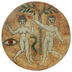 Adam and Eve Ceramic Plate by André Deluol, circa 1950
