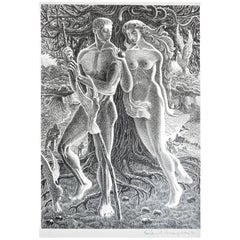 """Adam and Eve on Island of Peace,"" Remarkable WPA-Era Print of Peace Amidst War"