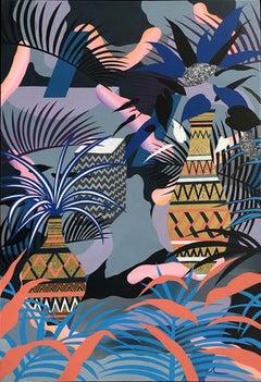 Adam Bartlett, Blue Garden, Original Contemporary Mixed Media Art