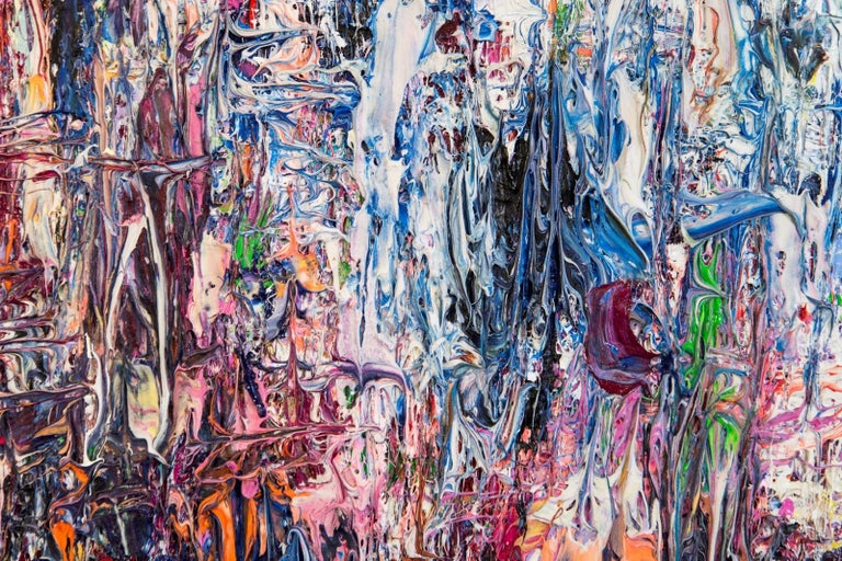 Deep, rich colours--blues, purple and orange punctuated by a background of bright white add depth and energy to this painting by abstract artist, Adam Cohen.The New York-based artist is known for his method of applying paint in thick layers that he