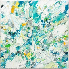 Breaking the Surface - bright, airy, abstract expressionist, acrylic on canvas