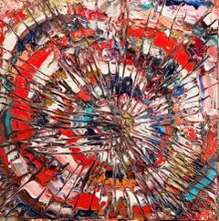 Spiral Stare Case - bold, colourful, abstract expressionist, acrylic on canvas